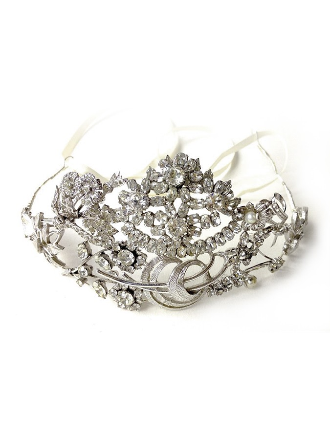 Diamante Pearl and Silver Tiara